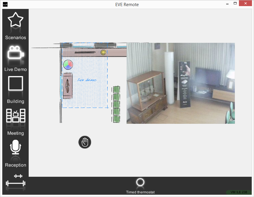 Componente Termostato temporizzato in modalità manuale all'interno dell'applicazione per il controllo della domotica EVE Remote Plus modalità mappe