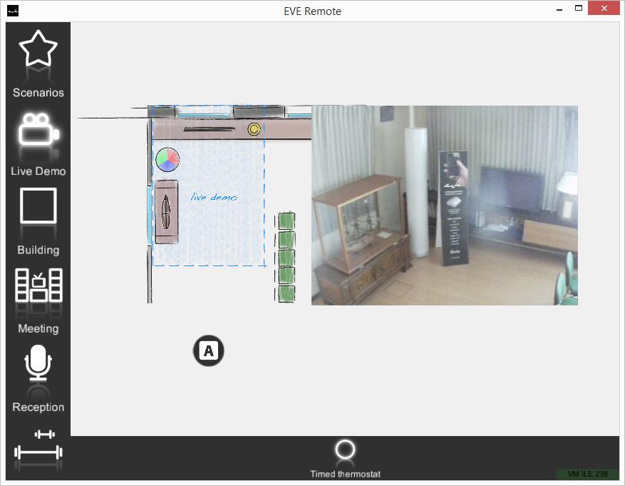 Componente Termostato temporizzato in modalità Automatica all'interno dell'applicazione per il controllo della domotica EVE Remote Plus modalità mappe