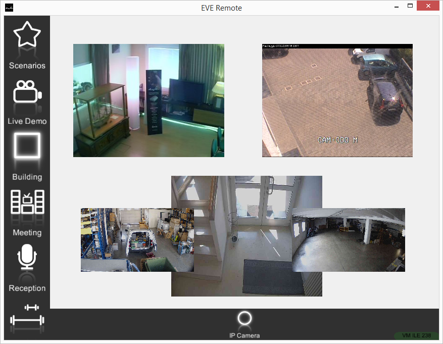 How the IP cameras are represented within the application for the home automation control EVE Remote Plus Map style