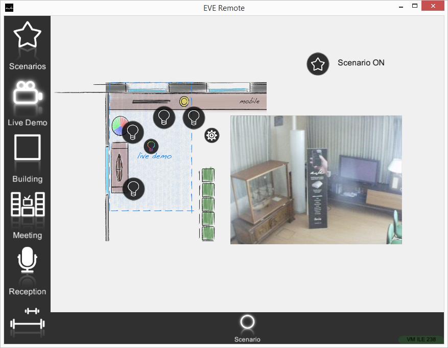 Componente Scenario all'interno dell'applicazione per il controllo domotico EVE Remote Plus stile a mappe esecuzione OFF