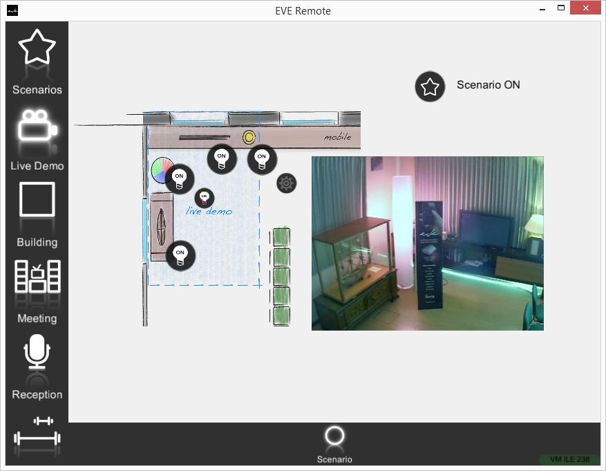 Componente Scenario all'interno dell'applicazione per il controllo domotico EVE Remote Plus stile a mappe esecuzione ON