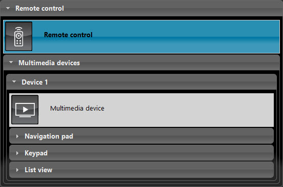 Remote control's component properties inside the Home automation software EVE Manager