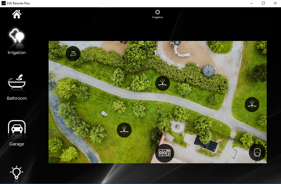 How the Irrigation components diabled look like inside the Home autoamtion app EVE Remote plus map style