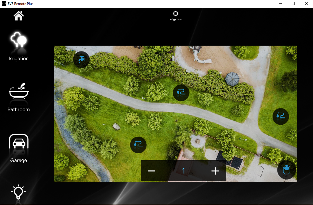 How the Irrigation components enabled look like inside the Home autoamtion app EVE Remote plus map style