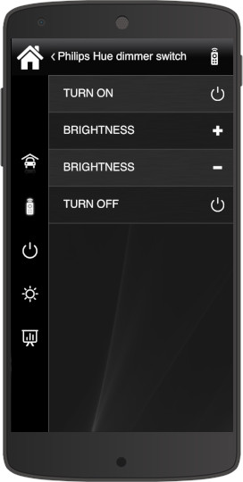 How the Philips HUE Dimmer switch looks like inside the Home automation app EVE Remote Plus classic style