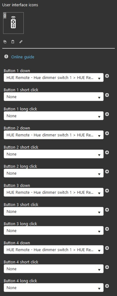 Philips HUE switch dimmer component's properties inside the Home automation software EVE Manger