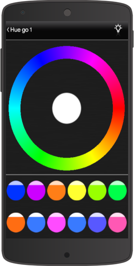 How to enter the colour picker inside the RGB component In the Home automation app EVE Remote Plus Classic interface