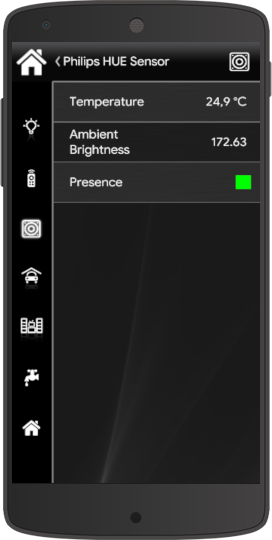How the Philips HUE motion sensor looks like inside the Home automation app EVE Manager Classic view