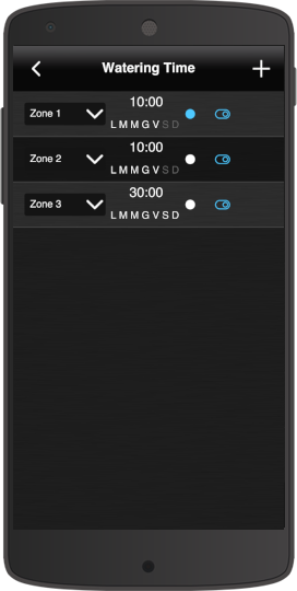 How the cycle programming is represented within the  home automation app EVE Remote Plus classic style