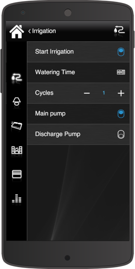 How the irrigation component enabled look like inside the Home automation app Eve Remote Plus classic style
