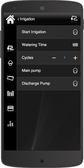 How the irrigation component Disabled look like inside the Home automation app Eve Remote Plus classic style