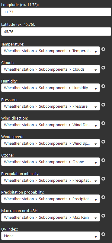 Weather station component properties inside the Home automation configuration software EVE Manager