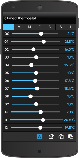 Timed thermostat component inside the Home automation App EVE Remote Plus classic style