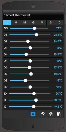 Componente Termostato temporizzato all'interno dell'applicazione per il controllo della domotica EVE Remote Plus stile classico