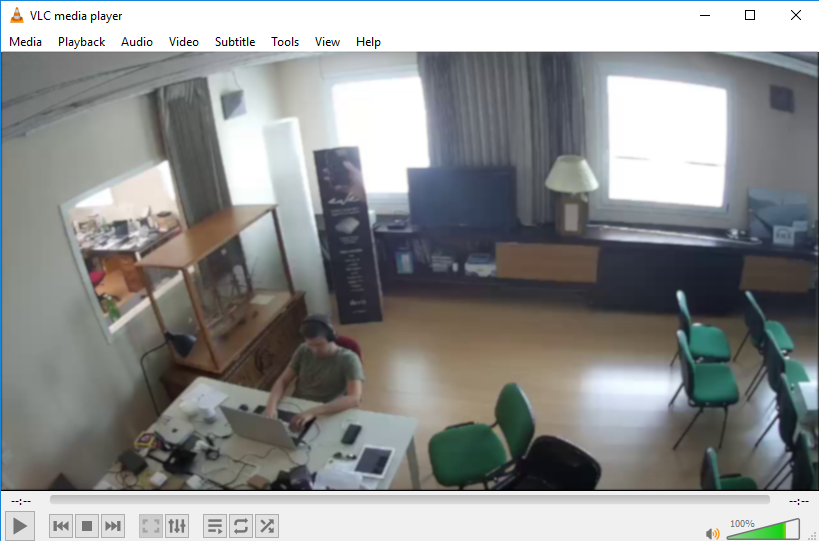 Streaming representation from the IP Camera via the URL entered in the VLC media player multimedia playback software